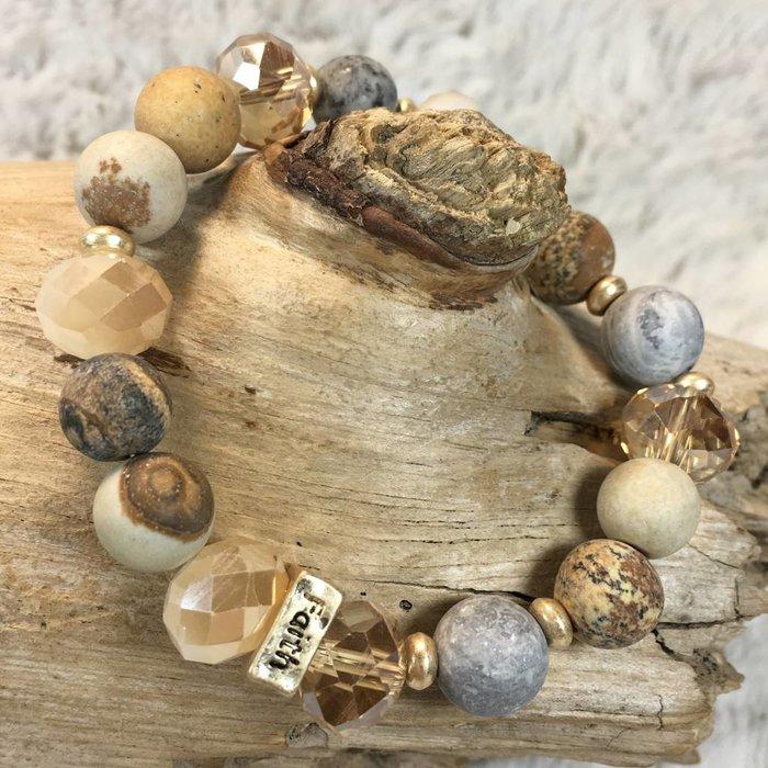 Light Colorado and Light Peach Love Hope Faith Beaded Bracelet