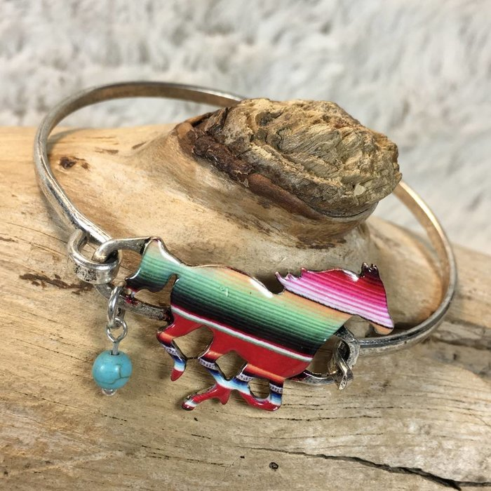 Serape Horse with Turquoise Bead Silver Bracelet