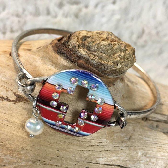 Serape Cross Concho with Pearl Silver Bracelet