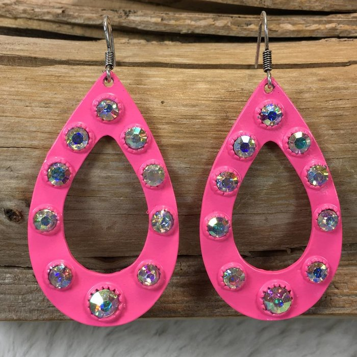 Neon Pink AB Open Teardrop Earrings