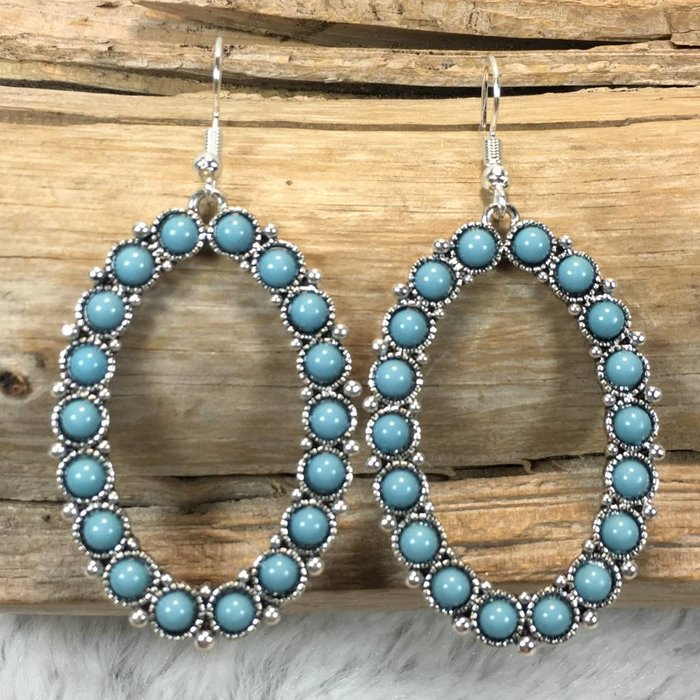 Oval Turquoise Silver Earrings