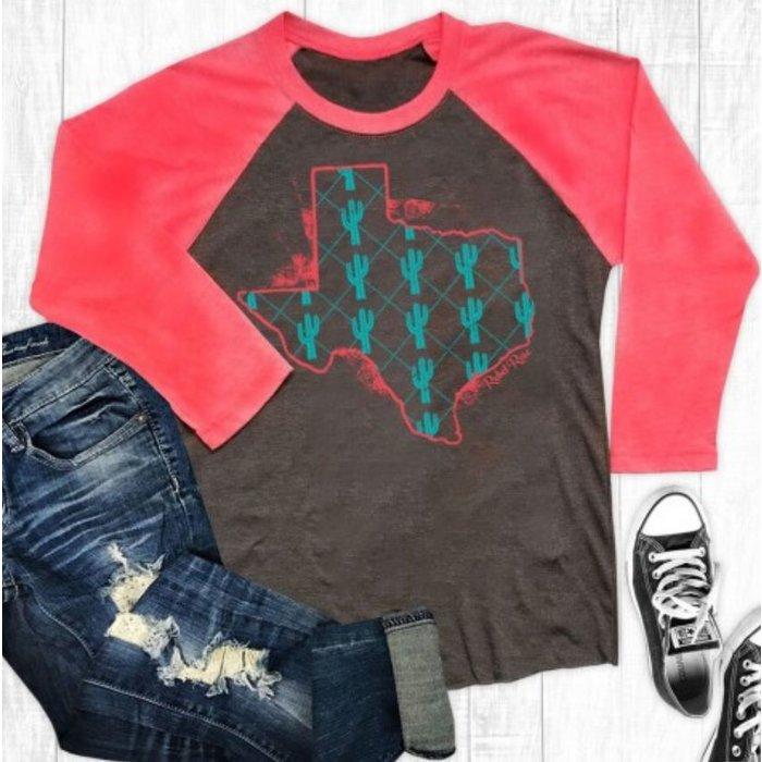 Texas Cactus Red Sleeve Raglan T-Shirt