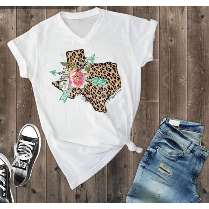 Leopard Floral Texas White V Neck
