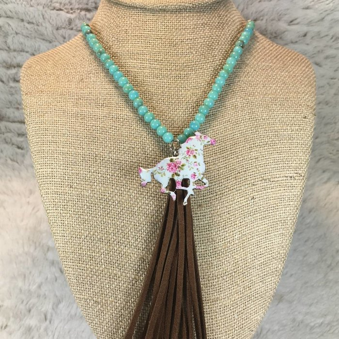 Floral Turquoise Beaded Horse Necklace Set