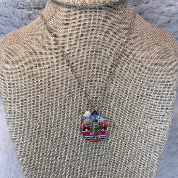 Serape Cross Concho with Pearl Necklace Set