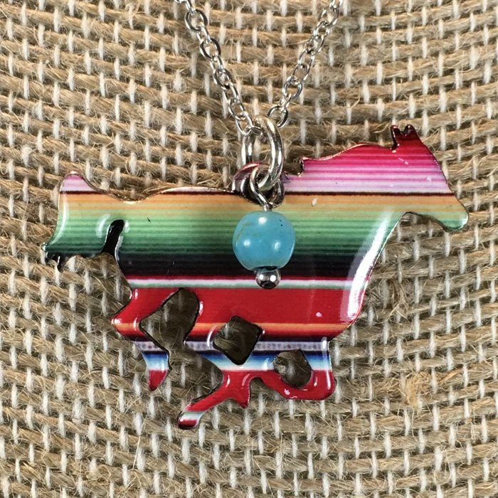 Serape Horse with Turquoise Bead Necklace Set