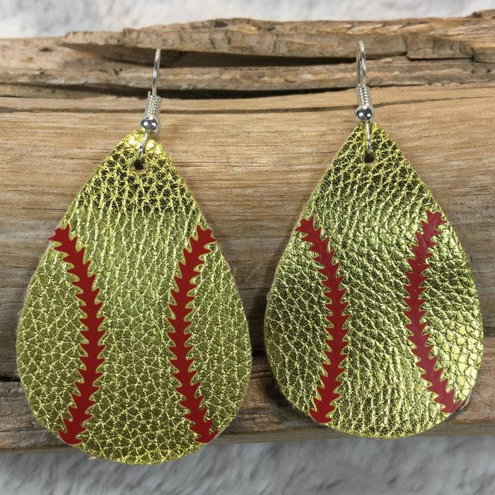 Gold Leather Softball Earrings