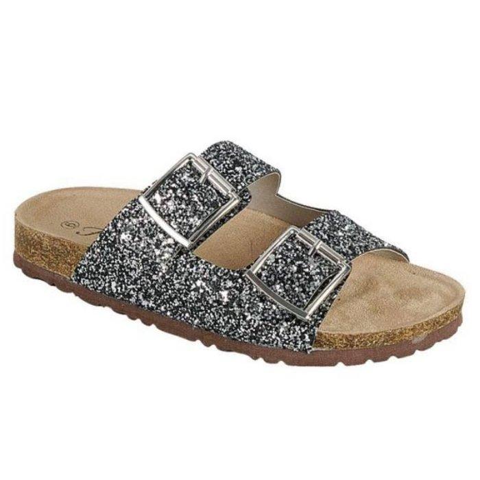 Glitter Birken Sandal Shoes - BLACK