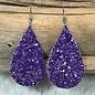Purple Glitter Teardrop Earrings