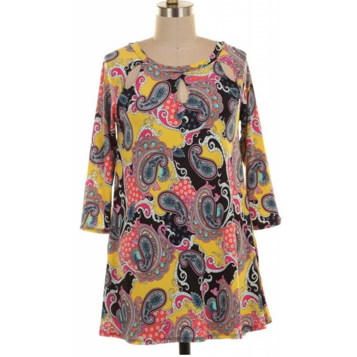 PLUS Multi Color Paisley Cut Out Neck Tunic