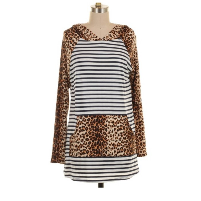 PLUS Leopard Navy Striped Hoodie