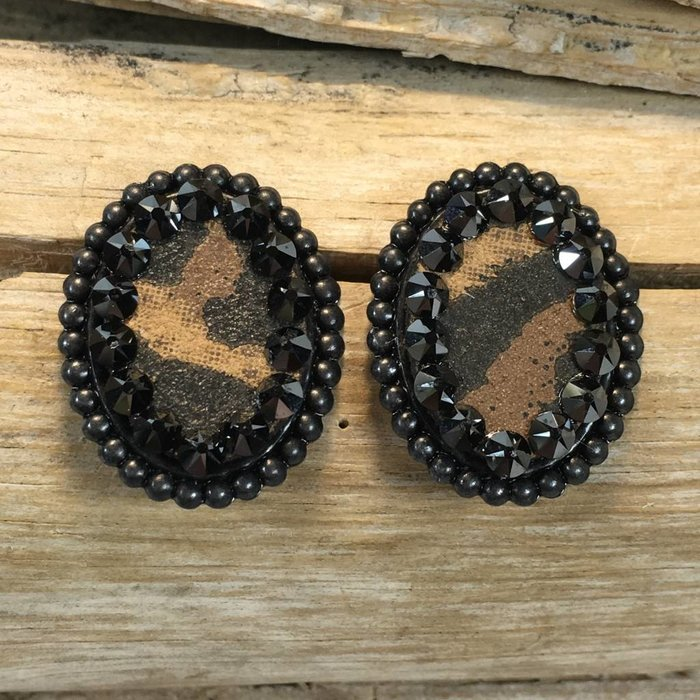 Leopard Stud with Black Crystals Earrings