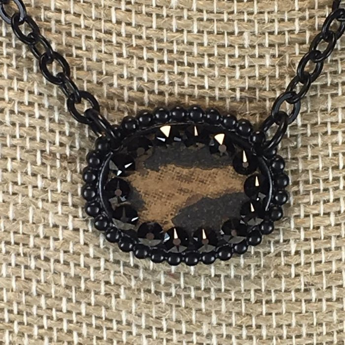 Small Leopard Oval with Black Crystals Necklace