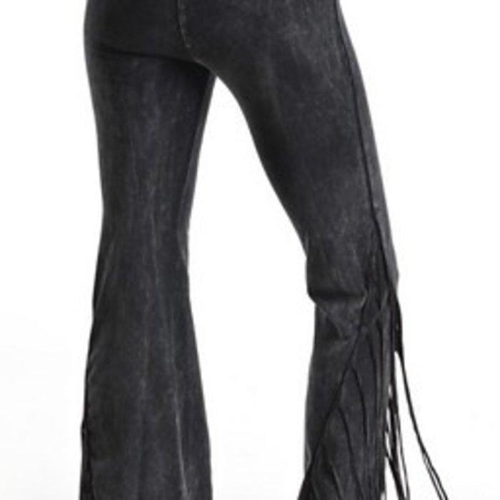 Black Fringe Yoga Pants