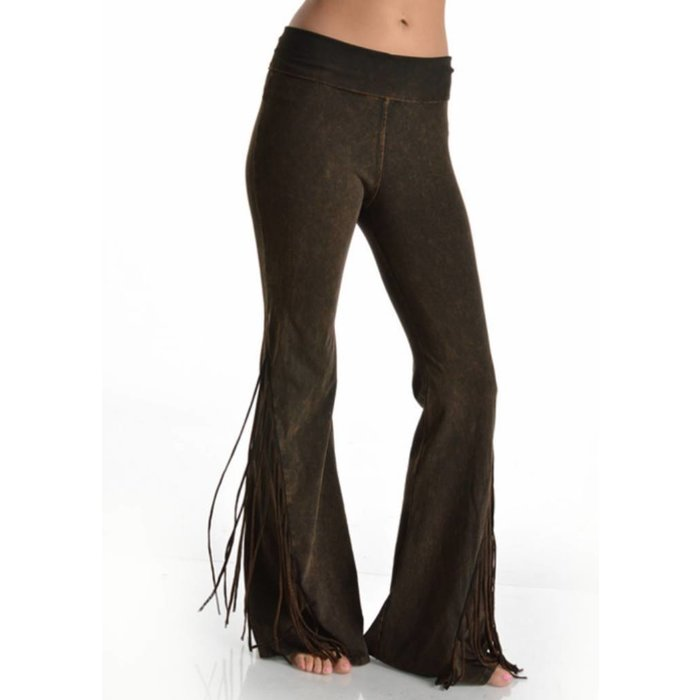 Brown Fringe Yoga Pants