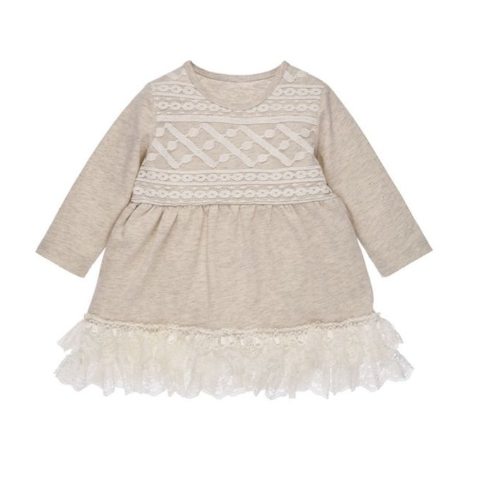 Grey Lace Cotton Knit Dress 6-12 months