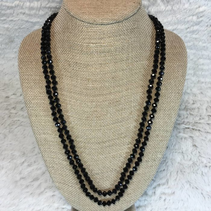 """Small Black Crystal Knotted Long Necklace 60"""""""