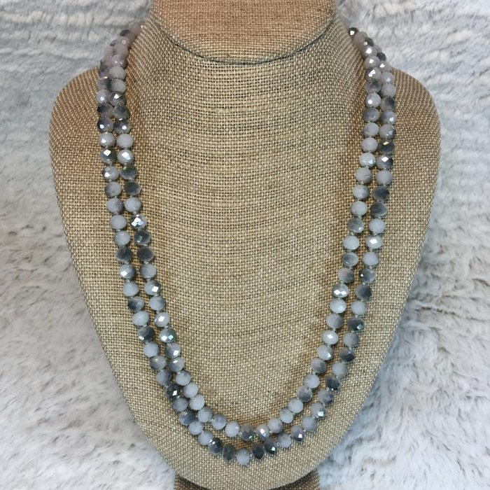 """Grey Marble Crystal Knotted Long Necklace 60"""""""