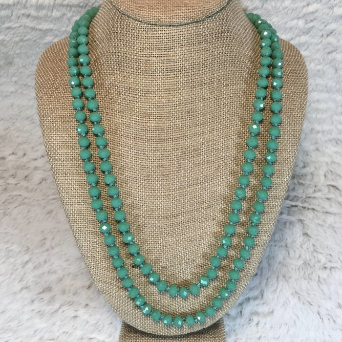 """Jade Crystal Knotted Long Necklace 60"""""""