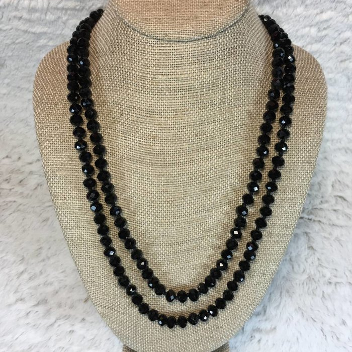 "Black Crystal Knotted 60"" Long Necklace"