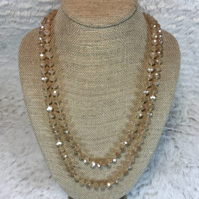"""Champagne Crystal Knotted Long Necklace 60"""""""