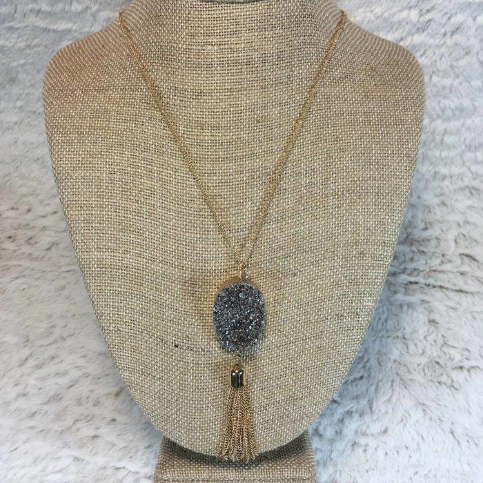 Charcoal Druzy Tassel Necklace
