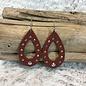 Brown Open Teardrop Leather AB Earrings