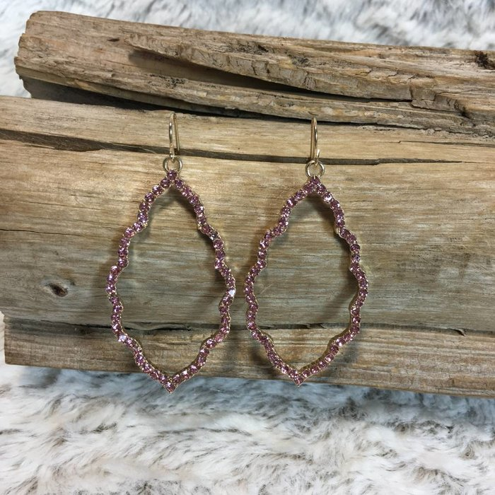 Gold with Pink Rhinestone Damask Earrings