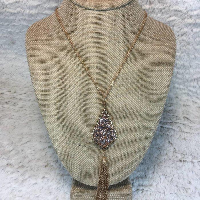 Long Gold & Rose/Silver Bling Tassel Necklace