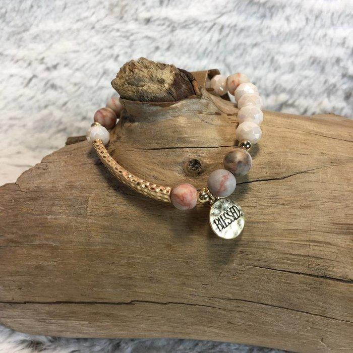 Peach Beaded Blessed Charm Bracelet