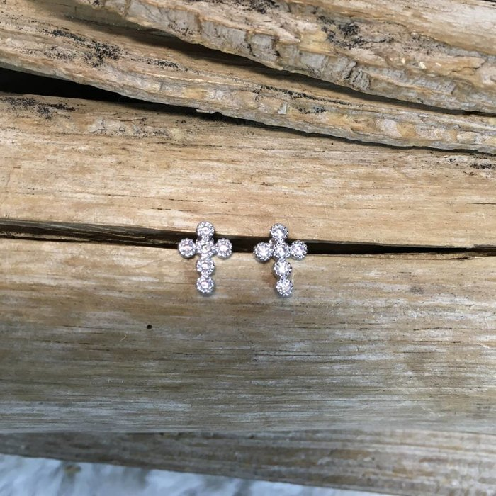 Silver Mini Cross Bling Earings