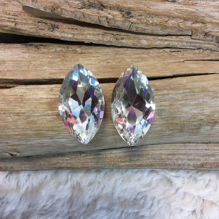 Large Diamond Shape Clear Stud Earrings
