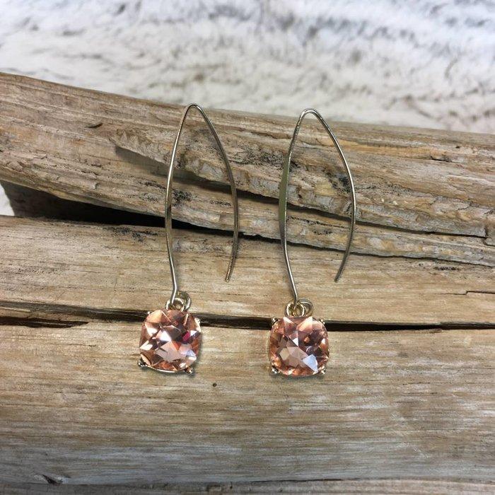 Peach Square Bling Gold Dangle Earrings