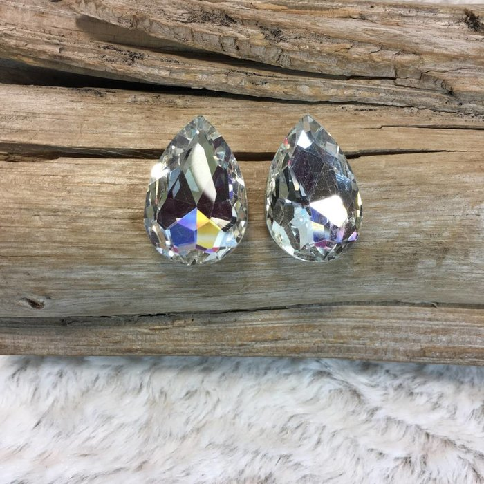 Large Teardrop Shape Clear Stud Earrings