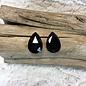 Large Teardrop Shape Black Stud Earrings