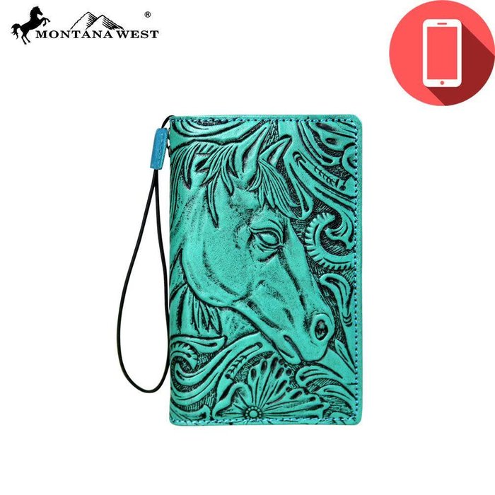 Turquoise Tooled Iphone X Cover/Wallet