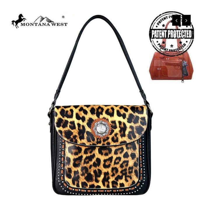 Leopard Concealed Carry Hobo Handbag