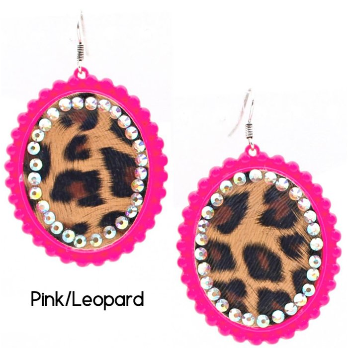 Hot Pink Leopard AB Crystal Earrings