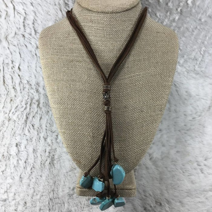 Brown Leather Turquoise Slab Tassel Necklace