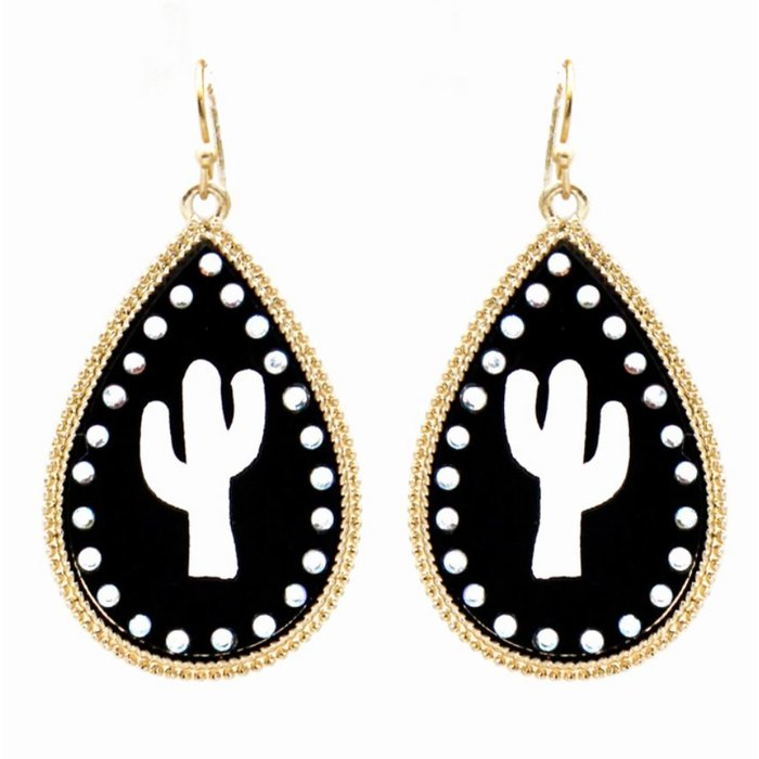 Black Cactus Cut Out Earrings with Gold Rim