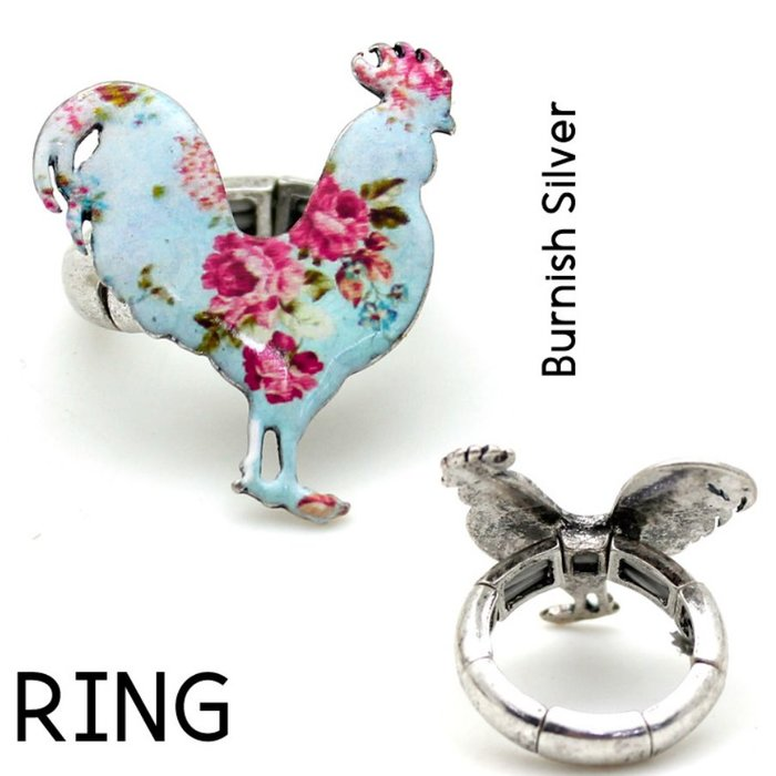 Blue Floral Rooster Silver Stretch Ring