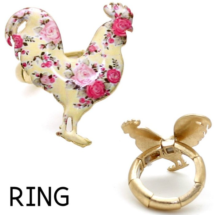 Cream Floral Rooster Gold Stretch Ring