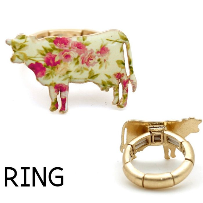 Cream Floral Cow Gold Stretch Ring
