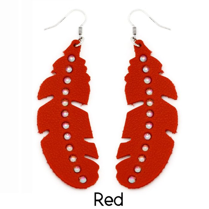 Red Feather AB Leather Earrings