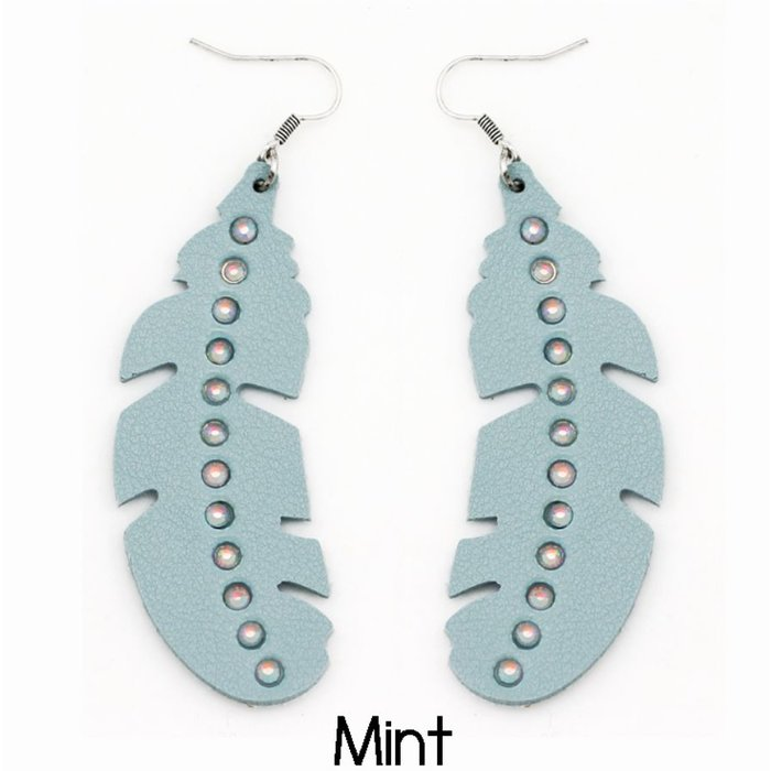 Mint Feather AB Leather Earrings