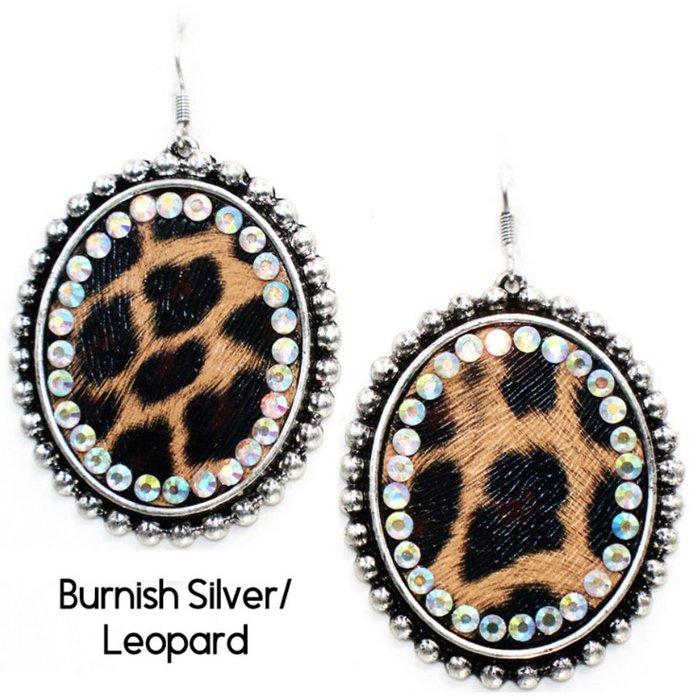 Burnish Silver Leopard AB Crystal Earrings