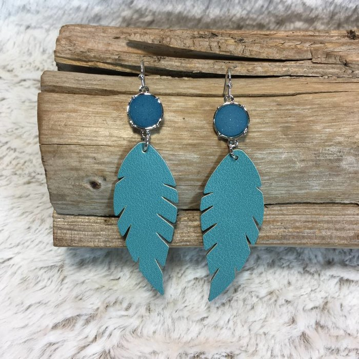 Turquoise Druzy Leather Earring