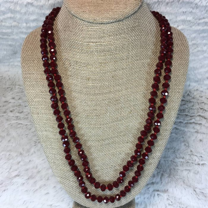 """Siam Crystal Knotted Long Necklace 60"""""""