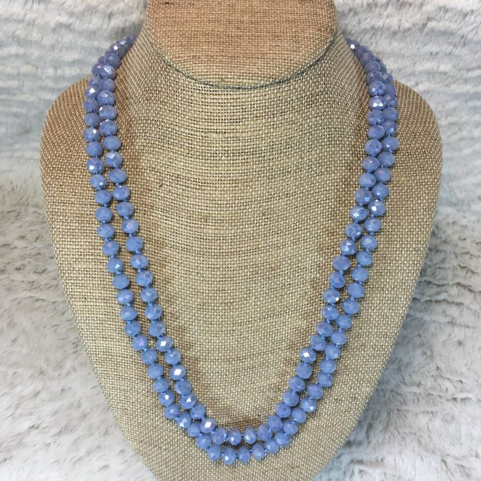 """Light Sapphire Crystal Knotted Long Necklace 60"""""""