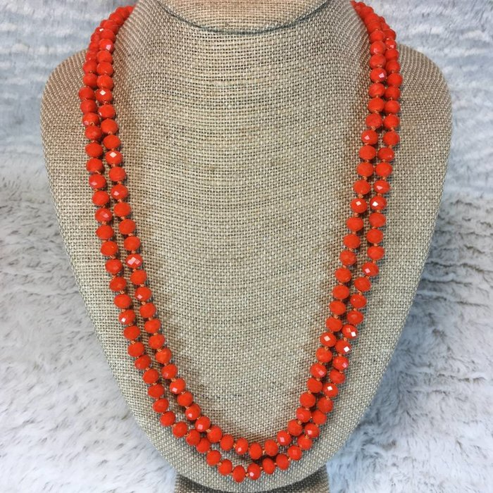 Orange Crystal Knotted Long Necklace 60""